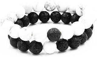Belons par elástico Pulsera de 10 mm Blanco Howlita Piedra energía de Lava y Negro Distancia Pulseras Set, 2pcs