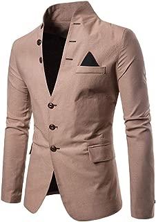 Sunward Fashion Men Casual Solid Long Sleeve Jacket Stand Neck Coat Autumn Winter