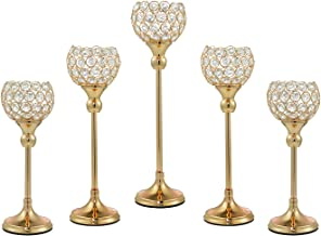 ECOM KING Gold Crystal Candle Holder,Tea Light Candlestick Holders for Wedding Table Decoration,Centerpiece for Party Home...