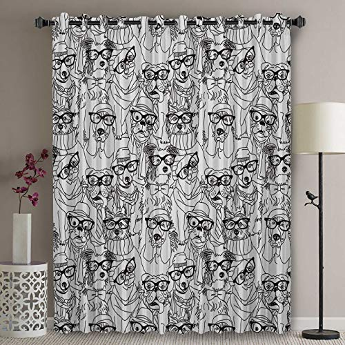 Blackout Patio Door Curtain Panel - 63 Inch Long Grommet Top Thermal Insulated Bedroom Darkening Curtain - Dog Draperies & Curtains Black White Glasses Pug Doggy Curtains for Sliding Glass Door