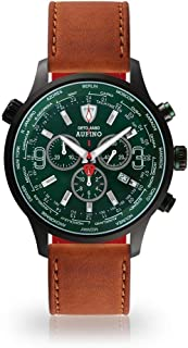 DETOMASO AURINO Racing Mens Watch Chronograph Analog Quartz Brown Leather Strap Green dial DT1061-N-828