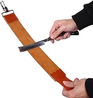 Men Shaving Leather Strop Sharpener Belt, Barber Straight Razor Folding Sharpening