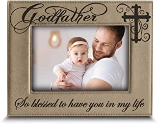 BELLA BUSTA-Godfather with Cross-So Blessed to Have You in My Life-Godfather Gift from Godchild Engraved Lather Picture Fr...