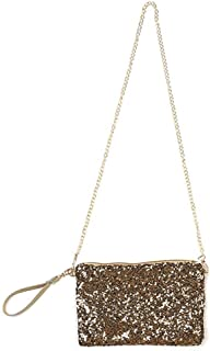 Women Glitter Sequins Crossbody Shoulder Bag Evening Bag Wrislet Purse Handbag