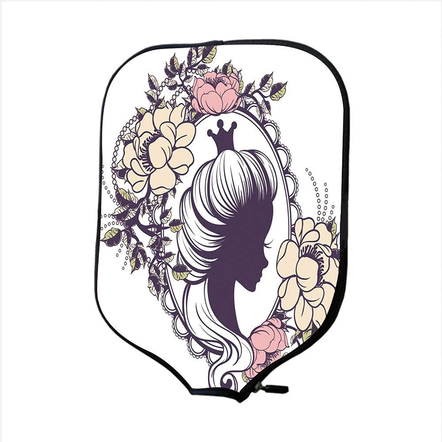Fine Neoprene Pickleball Paddle Racket Cover Case,Queen,Young Princess Portrait Silhouette in Floral Frame Feminine Noble Woman,Coral Sand Brown Black,Fit for Most Rackets
