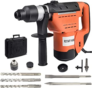 """Goplus SDS Rotary Hammer, 1-1/2"""" Electric Rotary Hammer Drill with Vibration Control, 3 Drill Functions, Plus Demolition Bits, Includes 3 Drill Bits,Point and Flat Chisel with Case (Orange)"""