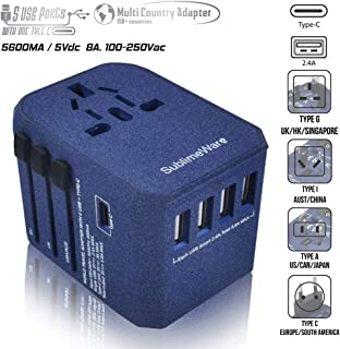 Power Plug Adapter - International Travel (w/5 USB Ports and USB Type C)- Work 150+ Countries - 220 Volt Adapter - Travel Adapter - Type C A G I A/C - UK Japan China Europe