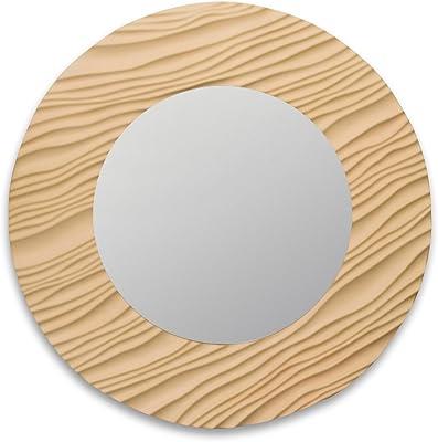 Art Street Wampum Wave Beige Cream Home Decor MDF Wall Mirror