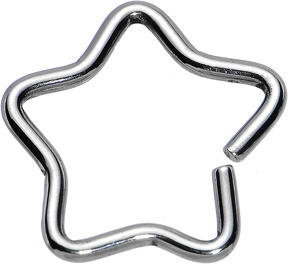 Body Candy Steel Hollow Star Closure Daith Cartilage Tragus Earring 16 Gauge 3/8