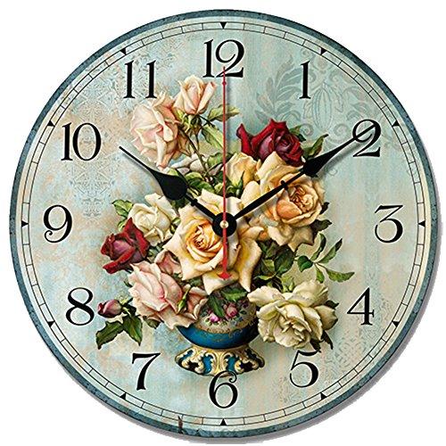 S.W.H Reloj de pared de madera estilo shabby chic floral vintage silencioso para sala de estar, dormitorio, decoración del hogar, 30,5 cm