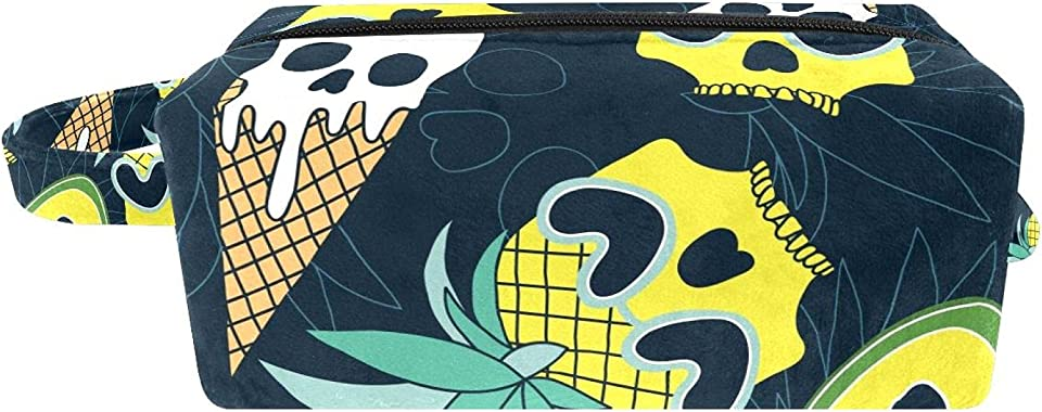 Cosmetic Bag for Women, Summer Skull Pineapple Ice Cream Avocado, Makeup Bags with Handle Accessories Organizer Gifts