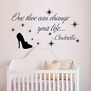 Wall Decals Quotes Cinderella One Shoe Can Change Your Life Quote Vinyl Sticker Nursery Room Bedroom Decal Baby Girl Home Decor Art Murals MR358