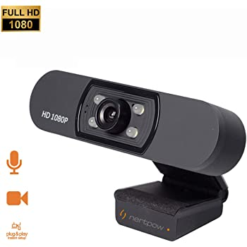 1080P Webcam, NP HD PC Webcam USB Mini Computer Camera Built-in Microphone, Flexible Rotatable Clip, for Laptops, Desktop and Gaming, Black