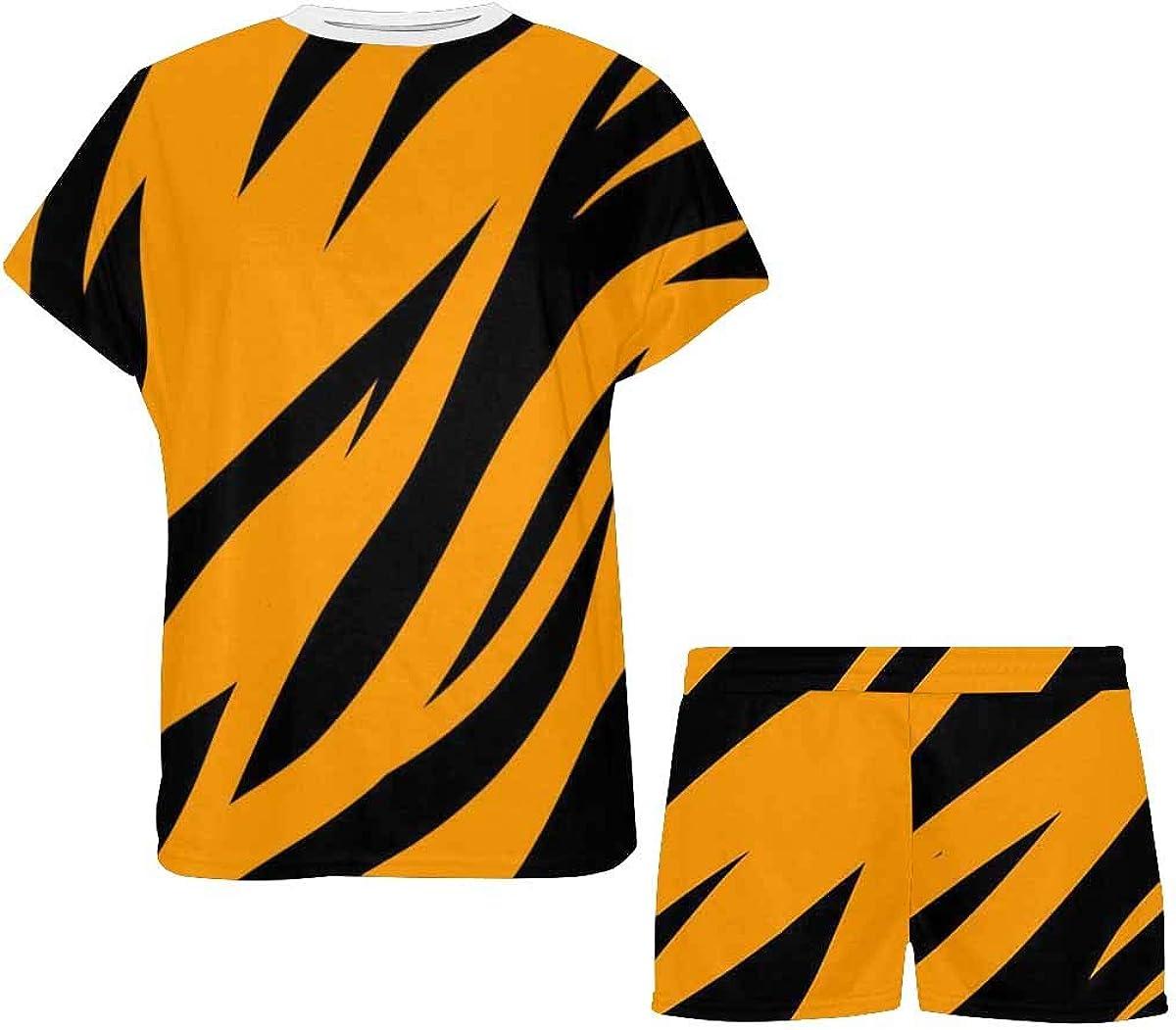 InterestPrint Tiger Stripes Women's Breathable 2 Piece Shorts Pajama Sleepwear Set
