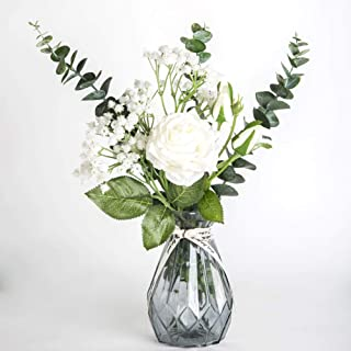 LINGRAN Artificial Flowers with Glass Vase Silk Plants Rose Bouquets Babys Breath Fabric Cloth for Table Office Home Wedding Party Festival Decor(White)
