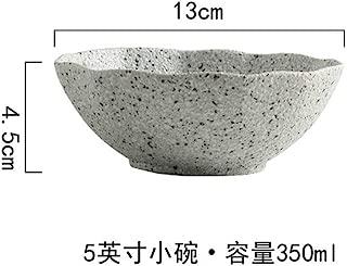 New Design Granite Pattern Ceramic Food Plate Dish Rice Salad Bowl Retro Porcelain Tray Household Tableware Dinner Plate Set,4.5 Inch bowl