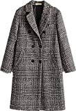 Face Dream Women Classic Lattice Winter Overcoat Lapel Double Breasted Woolen Long Coat Grey, X-Large
