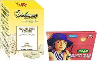 Sanjeevani Pure Indian 100% Natural Multani Mitti Powder 100gm With Kalya Red Sandal Powder - Rakthachandanam Skin Care Po...