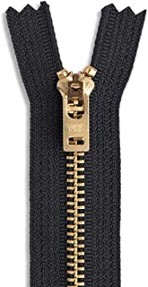 """4"""" - 11"""" Jean Zippers ~ YKK #5 Jeans ~ Brass by Each (Select Length/Color) (Length 6 inches, Black)"""