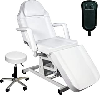 LCL Beauty Electric Height Adjustable Massage Facial Bed & Table (White)