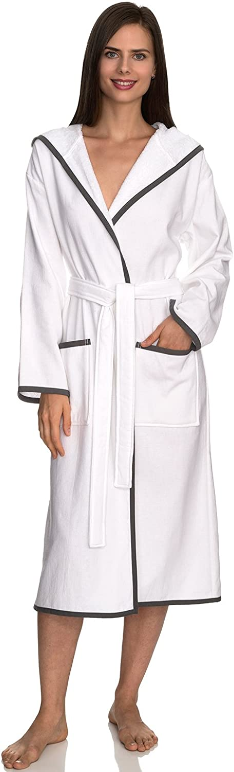 TowelSelections Women's Robe, Cotton Lined Hooded Terry Bathrobe Made in Turkey