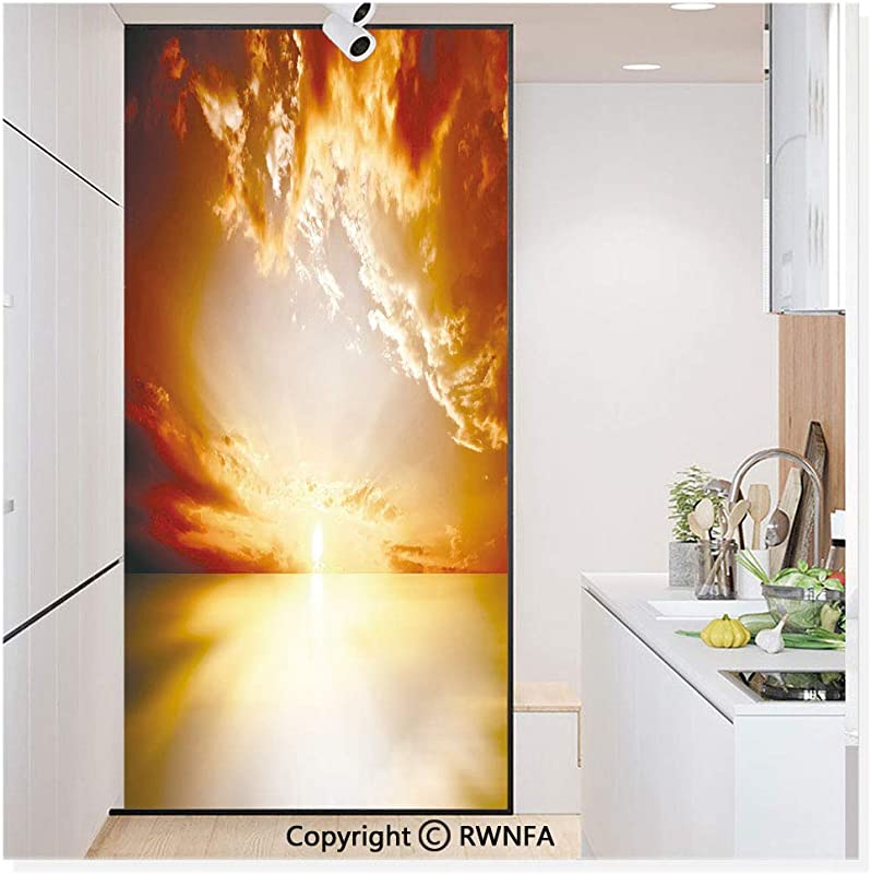Decorative Privacy Window Film Majestic Sunset View Tranquil Horizon Dramatic Skyscape Clouds Ocean Outdoors No Glue Self Static Cling For Home Bedroom Bathroom Kitchen Office Yellow Dark Orange