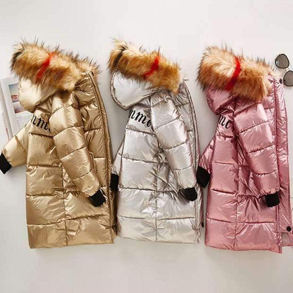 Chaquetas de plum/ón brillantes de algod/ón de invierno para ni/ños para ni/ñas Abrigo con capucha grueso y c/álido con capucha de longitud media