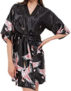 Summer Female Nightgown, Silk Embroidered Bathrobe, Sexy Homewear, Printed Nightgown, Short Morning Gown, V-Neck, Belt Design, (Color : Black, Size : M)