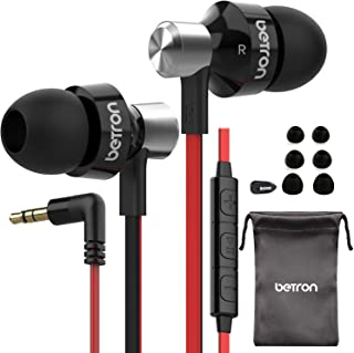 Betron DC950HI Earphone with Mic and Remote Control, Powerful Bass, Noise Isolating, Replaceable Earbuds, Portable Headphones, Compatible with iPhone, iPad, MP3 Players, Android Devices, Black