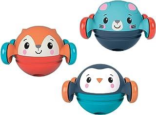 Fisher-Price Roll, Pop & Zoom Friends Set de regalo, 3 vehículos de juguete con temática animal, para bebés de 9 meses y más