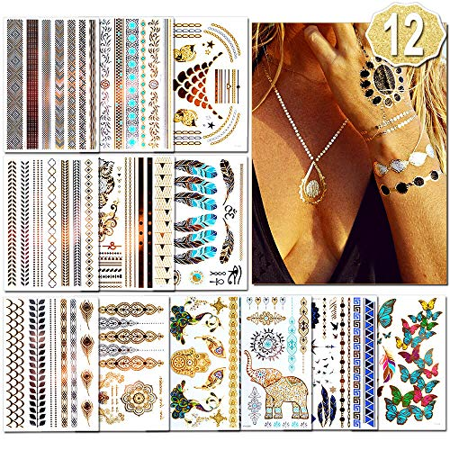 Temporäre Tattoos (Waterproof), 12 Blatt Tattoo aufkleber festival, (180+ Designs) Gold Festival Ausrüstung, Festival Armbänder für Frauen, Mädchen by AniSqui