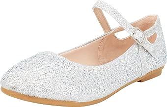 Cambridge Select Girls' Glitter Crystal Rhinestone Side Cutout Mary Jane Ballet Flat (Toddler/Little Kid/Big Kid)