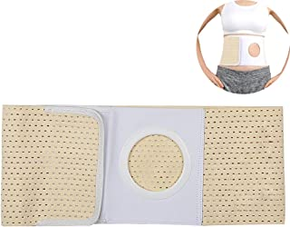 Ibnotuiy Cotton Soft Ostomy Hernia Belt Waist Support Belt Abdominal Binder Brace with Stoma Opening 2.36 inch Hole (Yellow, M)