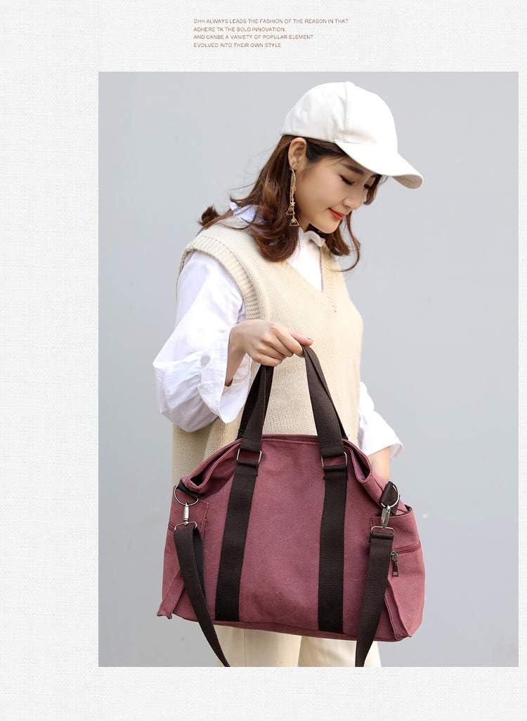 XLJJB Sauvage Casual Messenger Bag Nouvelle Toile Grand Sac Mesdames Sac À Main D'Épaule Mesdames Sac Purple coffee