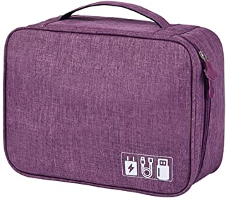 Data cable digital storage bag waterproof power charger U disk multi-function travel bag,purple