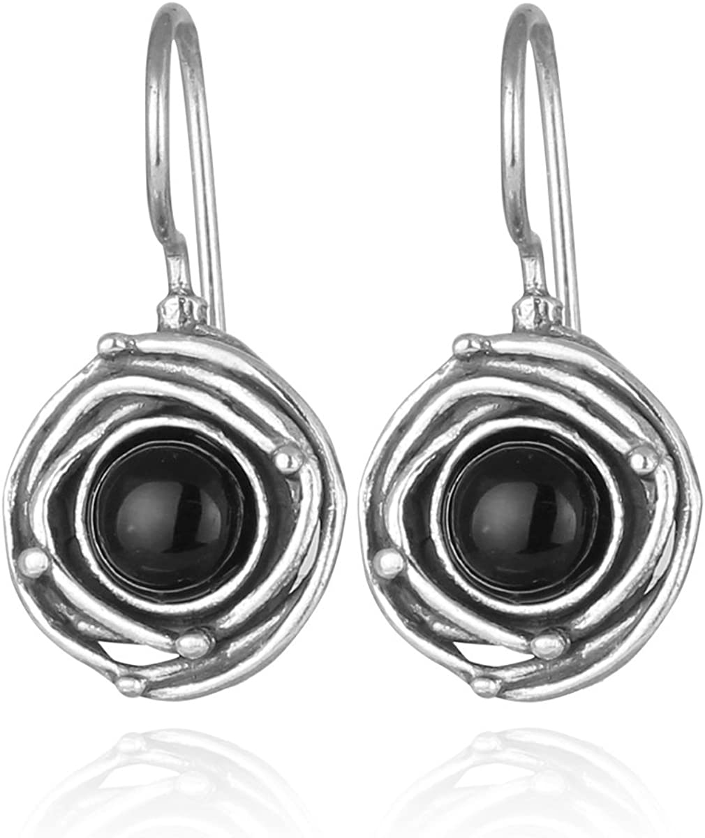 Vintage Houston Mall Style 925 Clearance SALE! Limited time! Sterling Silver Earrings Swirl with Onyx Black