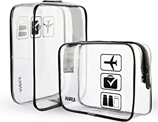 Anrui Clear Toiletry Bag TSA Approved Travel Carry On Airport Airline Compliant Bag Quart Sized 3-1-1 Kit Travel Luggage Pouch