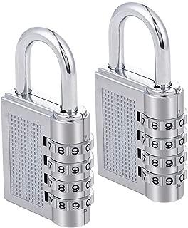 Combination Lock 2 Pack, Locker Lock, 4 Digit Lock, Gym Lock, School Lock, Resettable Weatherproof Combination Padlock Outdoor for Gates, Doors, Hasps, Storage,Sliver