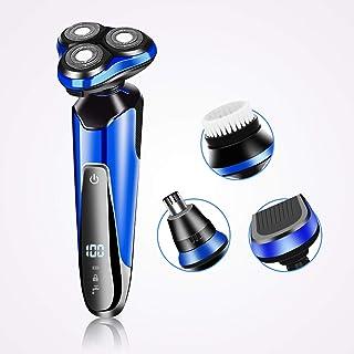 Afeitadora Eléctrica Hombre, 2NLF 4 en 1 Afeitadora Eléctrica para Hombre IP7 Impermeable Inalambrica Carga Rápida y Mojado Recortadora de Precision Barba con LED Botón Táctil