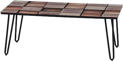 不二貿易 ローテーブル リビングテーブル 幅105cm 木製モザイク 強化ガラス スチール クレブ 18376