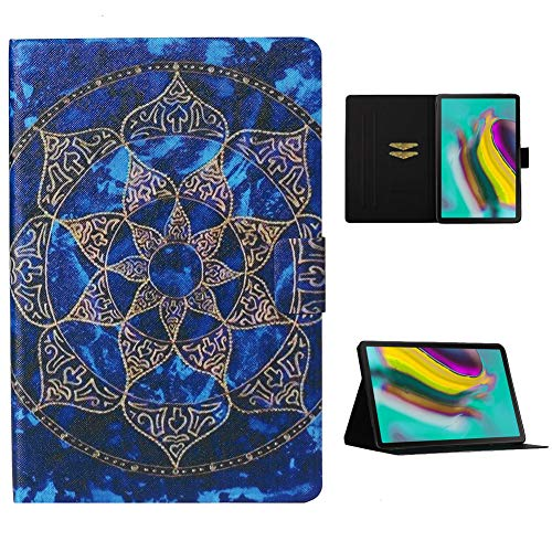 Cestor Flip Tablet Case for Samsung Galaxy Tab S6 10.5 SM-T860/T865,Ultra Slim Premium Colorful Print PU Leather [Multi-Angle View] Folio Stand Wallet Cover with Auto Wake/Sleep,Blue Mandala