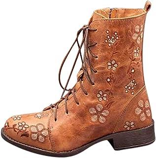 Stivali Donna Moda Casual Tacchi Quadrati Scarpe Lunghe alla Caviglia