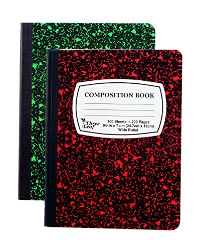 2-Pack Composition Notebook, 9-3/4 x 7-1/2, Wide Rule, 100 Sheet (200 Pages), Weekly Class Schedule and Multiplication/Conversion Tables - Colors: Red, Green, Yellow, Blue. (2-Pack, Random Colors)