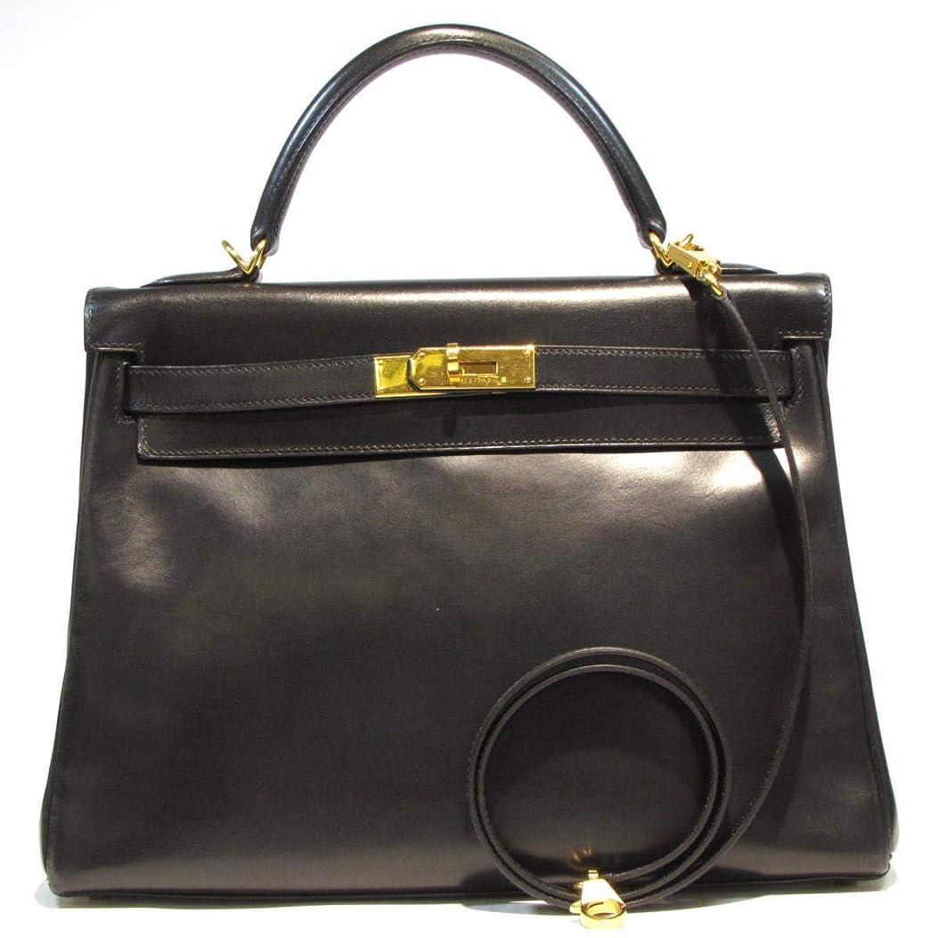 パプアニューギニア注釈オプショナル[エルメス] HERMES ケリー32 2wayハンドバッグ 内縫い ブラック(金具:ゴールド) ボックスカーフ [中古]
