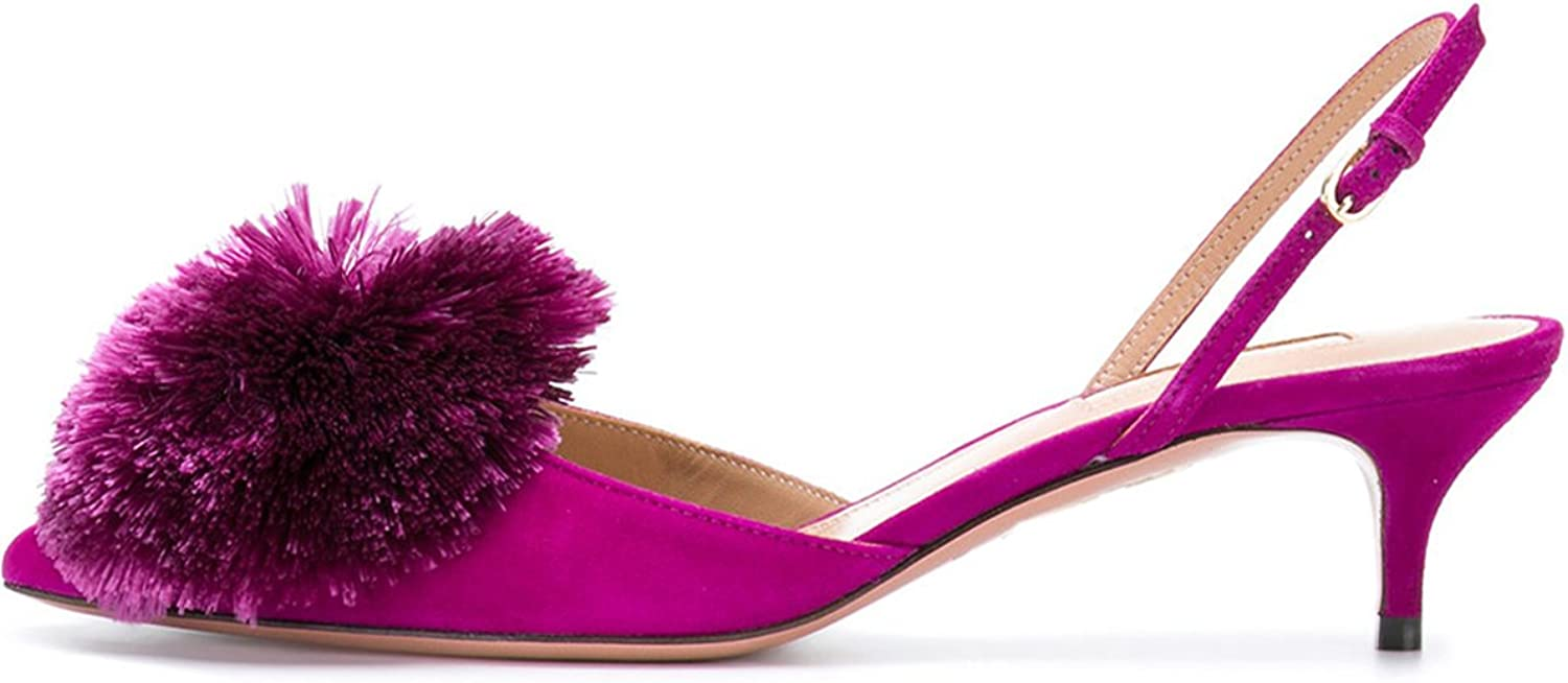 Pumps for Women,Puff Pompom Kitten Heels Pointed Toe Slingback Pumps Low Heel Sandals Evening Party Wedding shoes