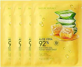 Nature Republic Soothing & Moisture Aloe Vera 92% Soothing Gel Mask Sheet (4PCS) (Honey)