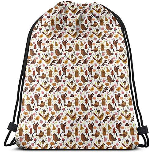 Mochila con cordón Bolsas Gimnasio Deportivo Cinch Bag, Ilustración Abstracta de Dibujos Animados del Tema del Bosque Aves Gorriones Cuervos y Jaula de pájaros