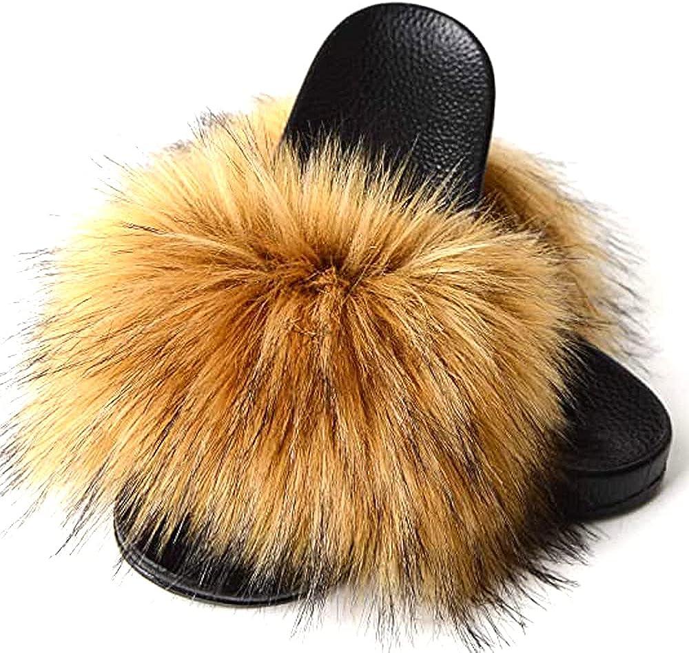 PEFURS Fur Slides For Women Fuzzy Sandals for Women Fluffy Slide
