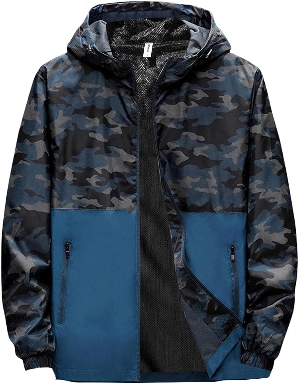 Men's Hooded Windbreaker Jacket Full Zipper Print Camouflage Color Bolock Hoodies Raincoat Outdoor Sport Travel Outwear
