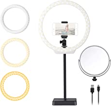 Neewer 10-Inch Tabletop LED Ring Light Kit with Double-Side Mirror, Phone Holder, Hot Shoe for YouTube Video Live Streaming Makeup Selfie, Desktop Mini USB Camera LED Light with 3 Light Modes